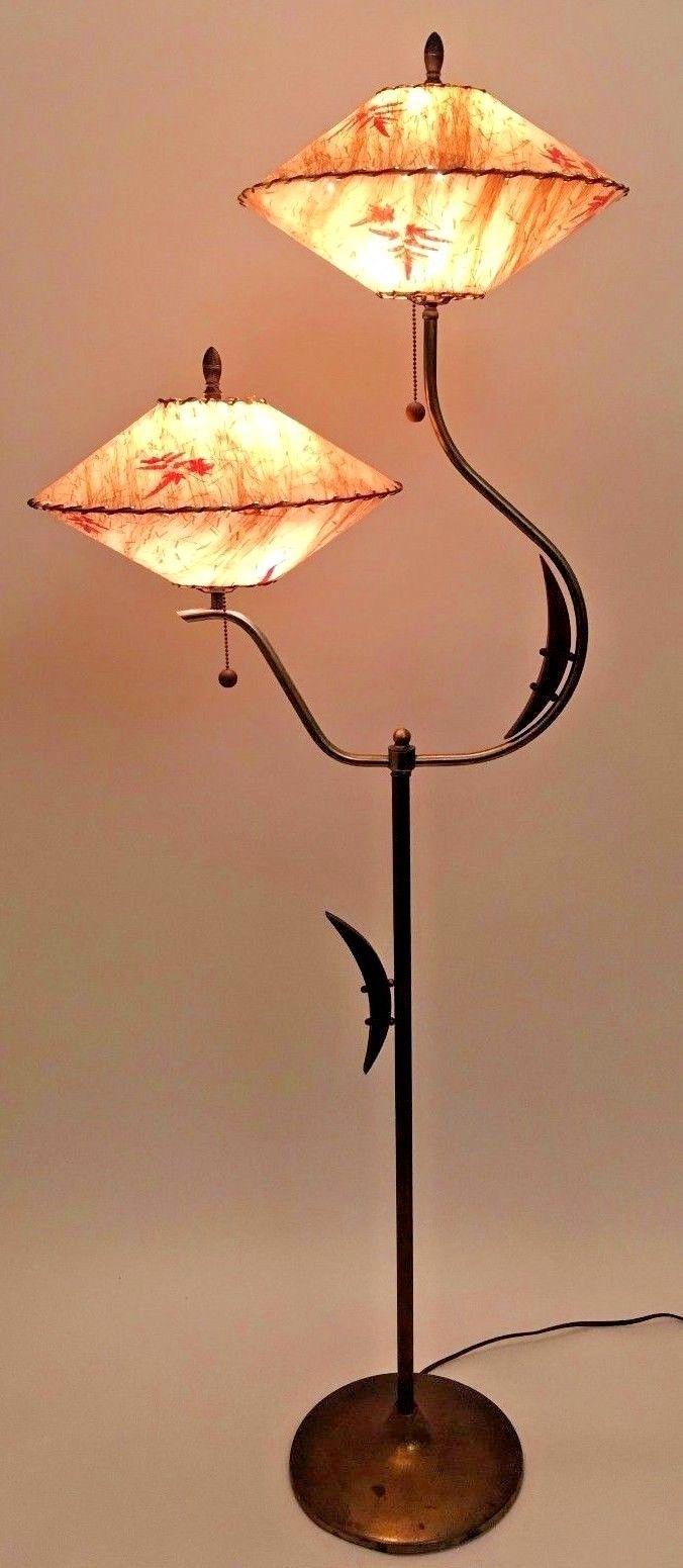 Vtg 1940s 50s Atomic Majestic Retro Mid Century Modern Floor Lamp W Dual Shades Ebay Modern Lamp Shades Mid Century Modern Floor Lamps Rustic Lamp Shades