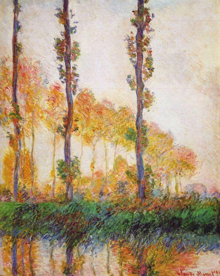Artesplorando: Paesaggi: pioppi, tre alberi rosa in autunno