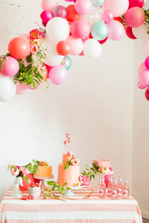 Flamingo Pop. A bridal collaboration with BHLDN and The House That Lars Built. Balloon installation by Brittany Watson Jepsen. Florals by As...