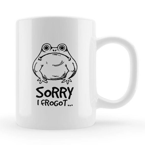 Sorry I Forgot Mug, Funny frog belated birthday art mug, Illustrated frog design, unique gift UK, late apology present