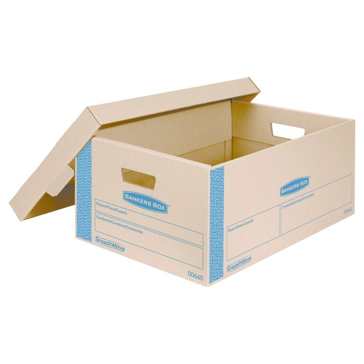 Bankers Box SmoothMove Prime Large Moving Boxes, Lift Lid, 24l x 15w x 10h, Kraft/Blue, 8/CT, Brown