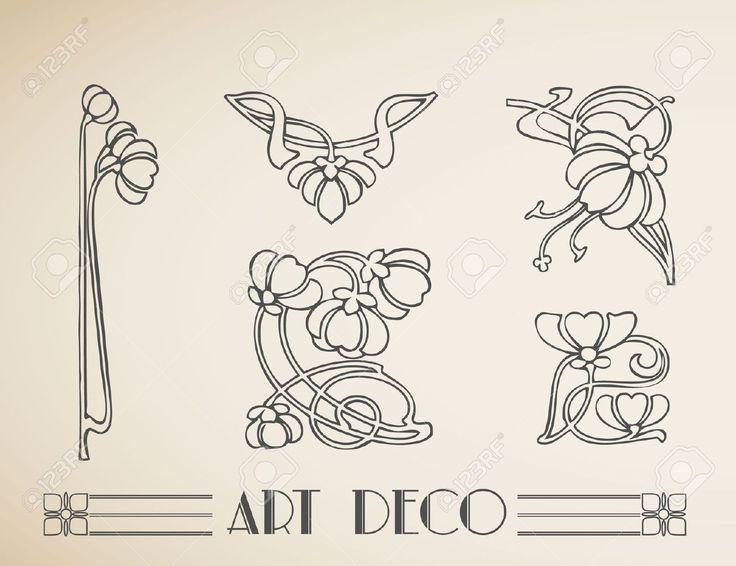 Art nouveau floral border google search art for Art deco flowers