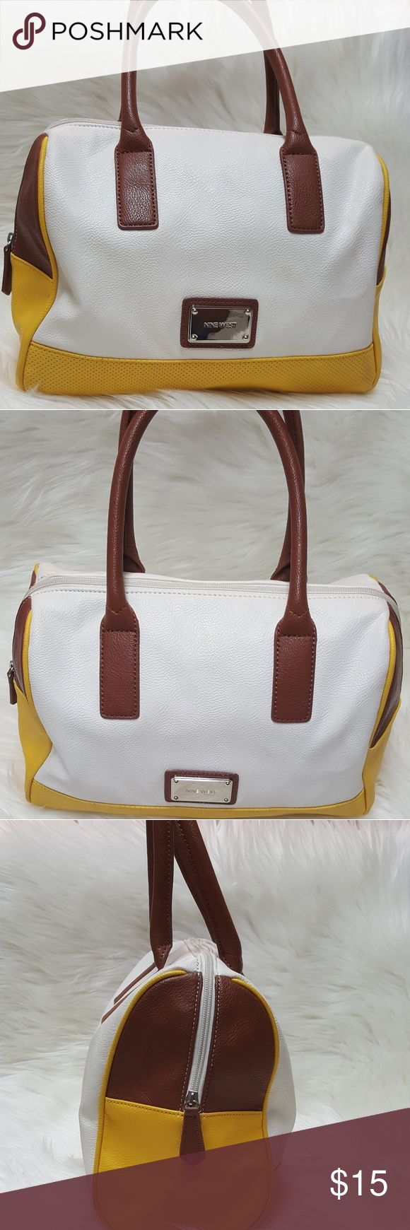 """NINE WEST shoulder bag color block design NINE WEST shoulder bag color block design, man made materials, has a couple of small scuffs on outside of bag Measurements are approximate  12 x 10 x 4 5"""" strap drop height Nine West Bags Shoulder Bags"""