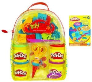 Play-Doh NEW Backpack by Play-Doh. $16.36. Pack it all up in your backpack to take it with you, wherever you go. Ceate your own amazing ?sculptures?. See-through backpack is filled with Play-Doh modeling compound and molding accessories for on-the-go creativity. Backpack comes with 26 letter molds, 10 number molds, FLIP ?N SNIP tool, keychain and four five-ounce cans of Play-Doh brand modeling clay. Colorful multi-pack of Play-Doh modeling compound. From the Manufactu...