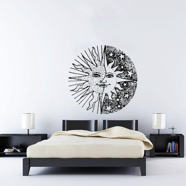 Wall Decal Vinyl Sticker Decals Art Home Decor Design Murals Sun Moon Crescent Dual Ethnic Stars Night Symbol Sunshine Fashion Bedroom AN419
