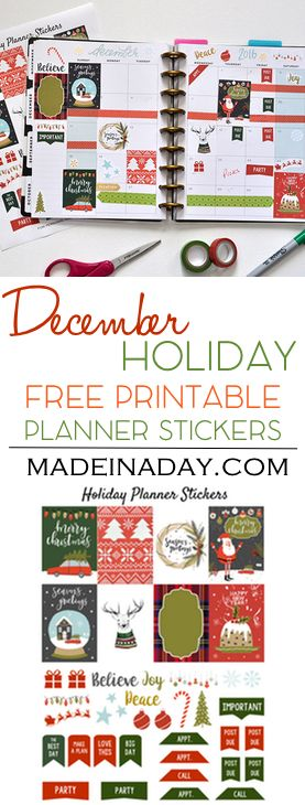 FREE December Holiday FREE Printable Planner Stickers! Ugly Sweater, fruitcake, truck & tree, snow globe stickers for Christmas Happy Planner via @madeinaday