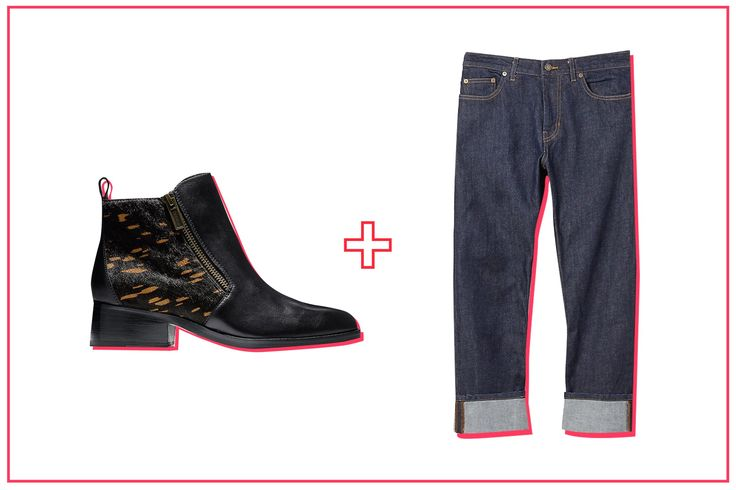 The Best Ankle Boot & Jean Pairings, Period #refinery29  http://www.refinery29.com/ankle-boots-with-jeans#slide-10  Keep the casual vibes of a boxy boyfriend silhouette going with a low-heeled zip-up boot. From the front, it looks like your run-of-the-mill Little Black Boot. But, it features graphic calf-hair paneling for a measured walk on the wild side. Steven Alan jeans. ...