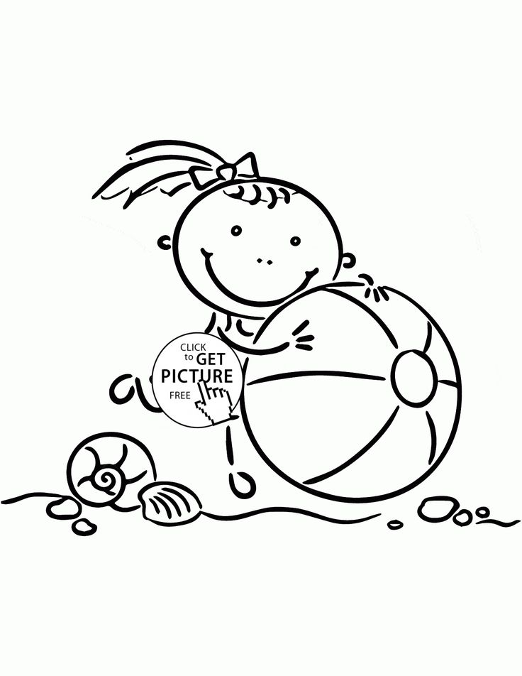 little girl with beach ball coloring page for kids seasons coloring pages printables free - Beach Ball Coloring Page Printable