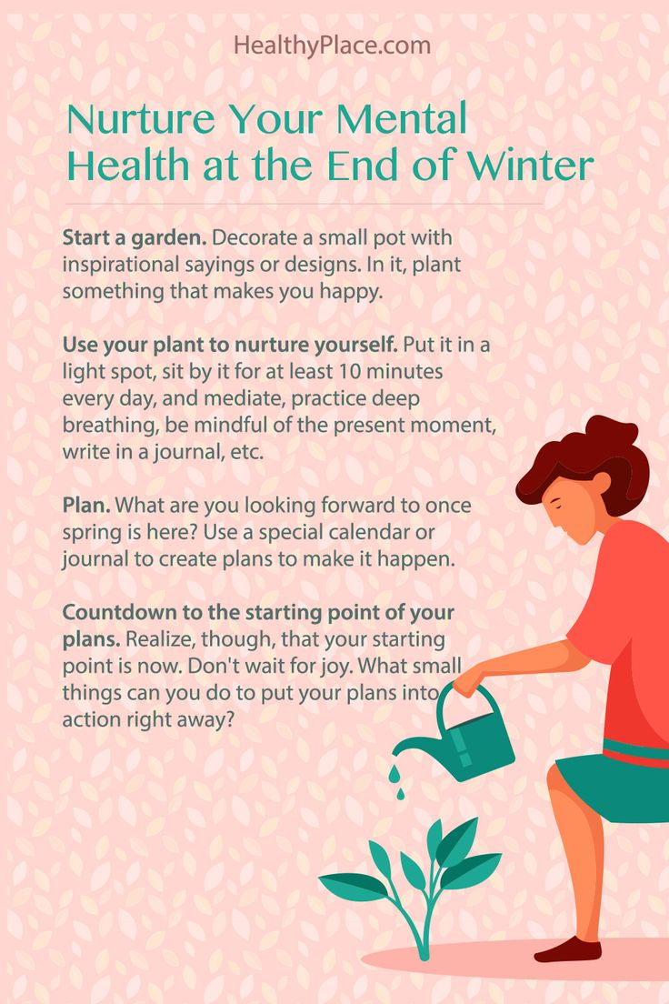 """""""With seasonal depression, even the final months of winter can challenge your mental health. Get 4 practical ideas to nurture your mental health at HealthyPlace."""" www.HealthyPlace.com"""