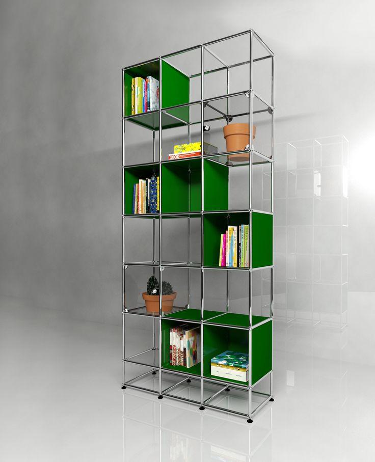 Bibliothèque USM Haller avec deux portes abattantes vitrées. Dimensions L/P/H : 1086/386/2351 mm. Modèle présenté en vert USM.