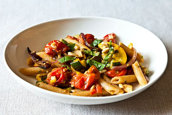 Penne with Sweet Summer Vegetables, Pine Nuts, and Herbs recipe from Food52