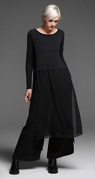 Love this look! EILEEN FISHER: New Arrivals: Black Silk Dress, Wide-Leg Velvet Pant + Chelsea Bootie