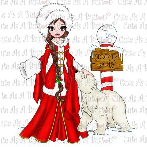 Cute As A Button Digistamps IMG00350 Pre-Colored North Pole Digital Stamp