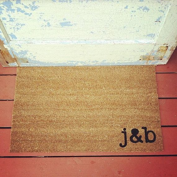 YOUR Custom Initials - Where You Hang Your Hat Doormat - Natural CoCo Fiber Modern Tagged Outdoor 60% Recycled Welcome Mat