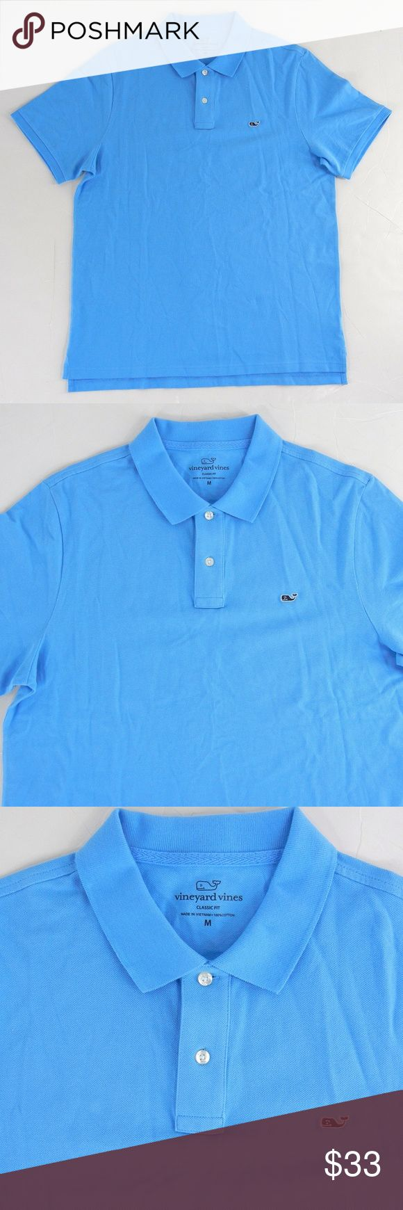 """VINEYARD VINES Men's Knit Pique Cotton Polo Shirt VINEYARD VINES men's 100% cotton stretch pique polo shirt in classic fit.  Whale logo on the chest, short sleeves.  Excellent condition with no flaws or signs of wear at all.  Size M, please check measurements carefully to determine fit.  44"""" chest, 42"""" waist, 30.5"""" long. Vineyard Vines Shirts Polos"""
