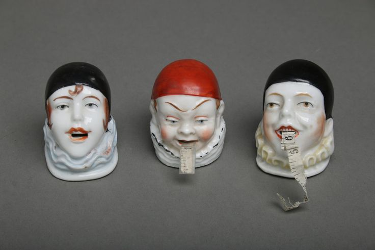 LOT of 3 Vintage Porcelain Figural Pierrot Clown Head Tape Measures Sewing