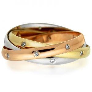 Золотое тройное кольцо для помолвки картье тринити с бриллиантами