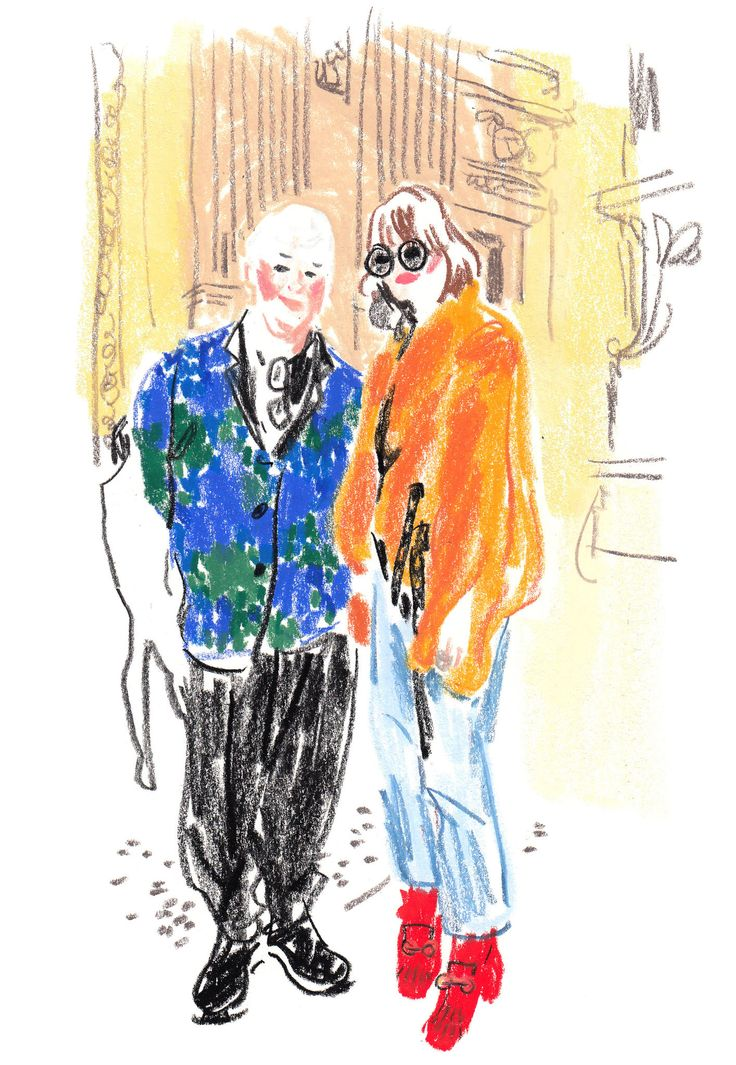 The illustrator Damien Florébert Cuypers draws the models, designers, buyers and bloggers at the fall/winter 2016 collections.