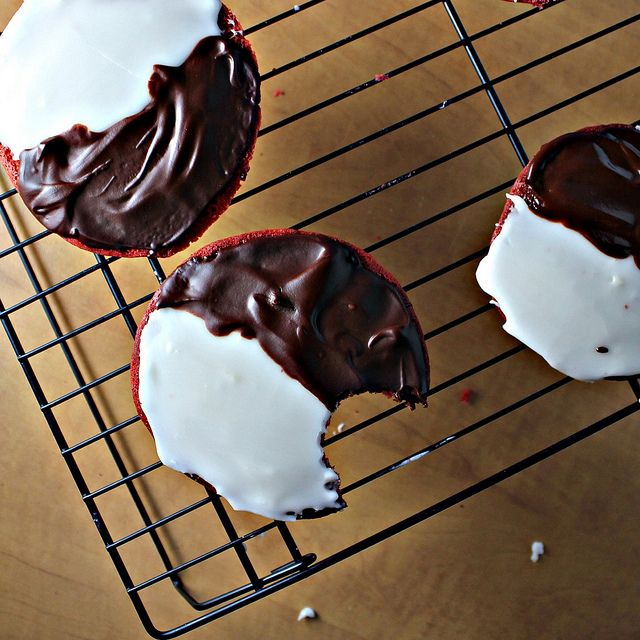 Red Velvet Black and White Cookies - Joanne Eats Well With Others