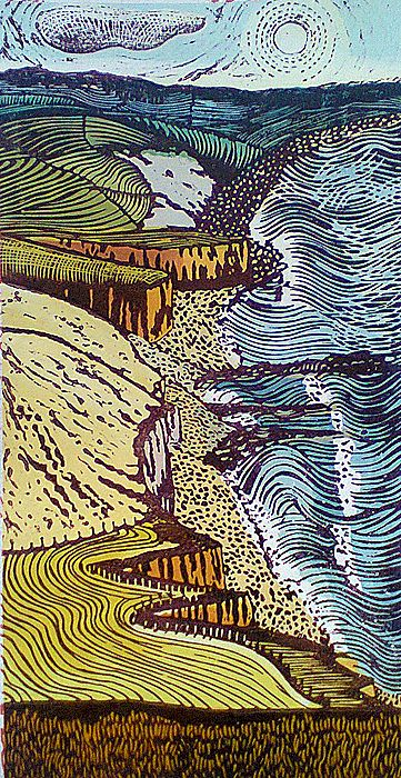 """""""From the Beacon to the Mouth 7"""" relief print by Liz Somerville. http://www.lizsomerville.co.uk/ Tags: Linocut, Cut, Print, Linoleum, Lino, Carving, Block, Woodcut, Helen Elstone, Sea, Waves, Shore, Hills, Coast."""