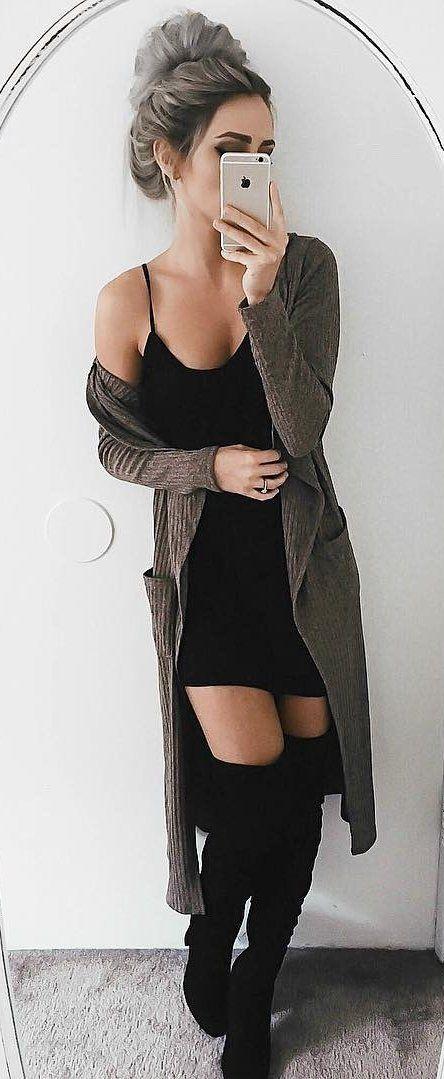 #winter #fashion /  Army Cardigan + Black Dress