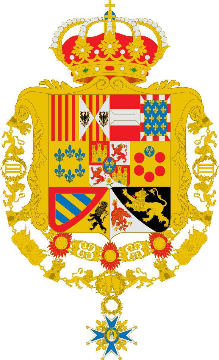 Escudo de Carlos III de España Toisón y su Orden variante leones de gules.svg