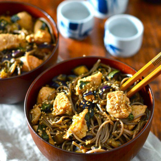 Stir-Fried Basil Eggplant Chicken Soba - healthy, easy Asian inspired dinner in minutes