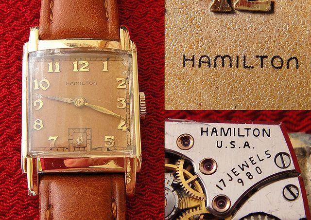 稀少★40's HAMILTON ハミルトン USA製 14金張ゴールドケース 手巻アンティーク腕時計 スモセコ角型デコ 未使用品レザーバンド付 ブラウン茶 商品説明 ■ コメント ■      40's ハミルトン USA製 14金張 手巻アンティーク腕時計です。   1892年に米国ペンシルバニア州で創業したハミルトンは、   アメリカンウォッチを語る上で最も欠かせない存在。   多数の時計メーカーを統合し、   最高級の時計だけを制作することを目標に発足したのが   ハミルトン・ウォッチ・カンパニー