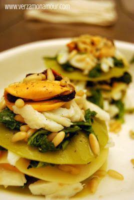 Lasagnetta con cime di rapa, baccalà e cozze ~ Ricette di cucina - Le ricette di…