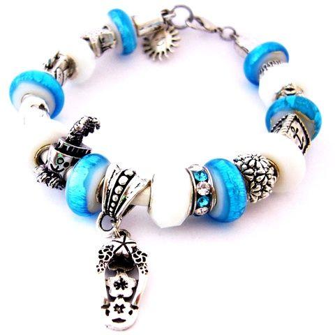 Emlék a Bermudákról! - ragyogó kék és fehér karkötő pandora stílusban tengeri csillaggal (ButterflyJew) - Meska.hu