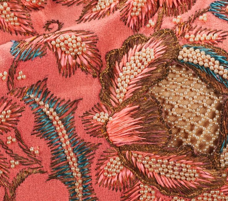Beaded & embroidered textile