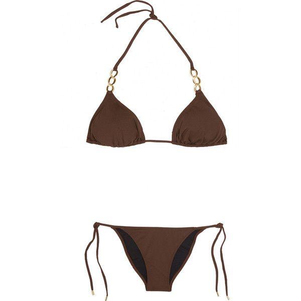 Melissa Odabash Crete triangle bikini ($100) ❤ liked on Polyvore featuring swimwear, bikinis, bikini, brown, triangle bikini, gold necktie, tie-dye swimwear, tie bikini and low rise bikini