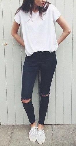 Black jeans, white tee, black converse. You knows she gets it right.