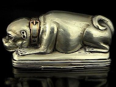 18th Century Antique Russian Silver Pug Dog Snuff Box RomanovRussia: