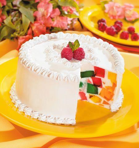 "pastel de gelatina de mosaico JELLO ""cake"" with whipped topping!"