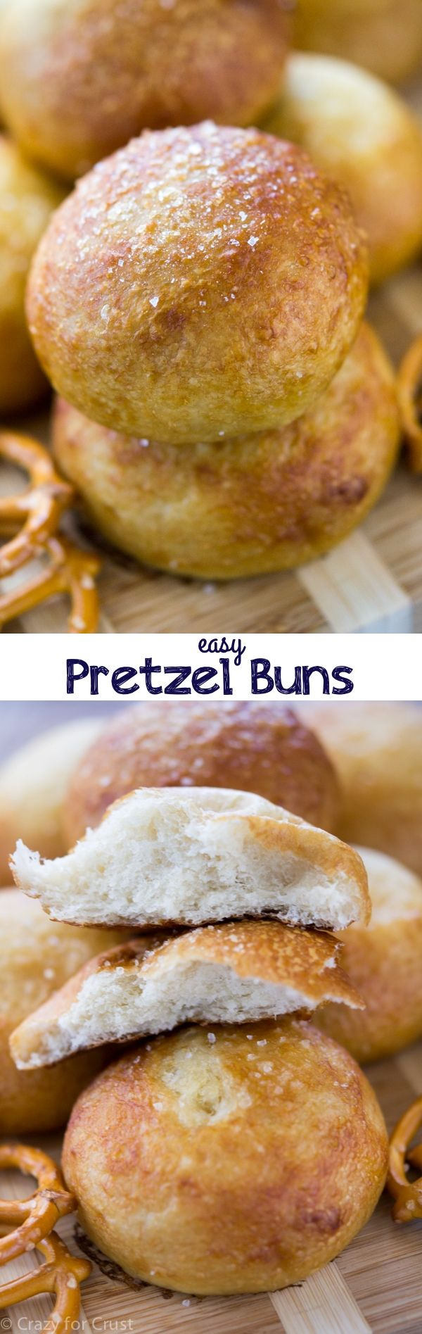 Easy Pretzel Buns made with frozen dinner rolls! Only 10 minutes of active work gets you amazing pretzel rolls!