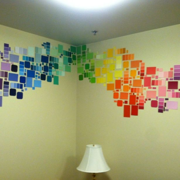 I saw one of the girls on my floor do this. Genius and cheap way to decorate a wall.  Just get those free paint cards from Home Depot and boom