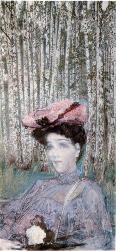 Mikhail Vrubel - Portrait of Nadezhda Zabela-Vrubel on the Edge of a Birch Grove, 1904