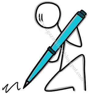 długopis, ludek, pisać, zapisywać, przykład, niebieski, grafiak, agazmaluje, blog rysunkowy, obrazek, ilustracja, cienkopis, akwarela, prezent, rysunek