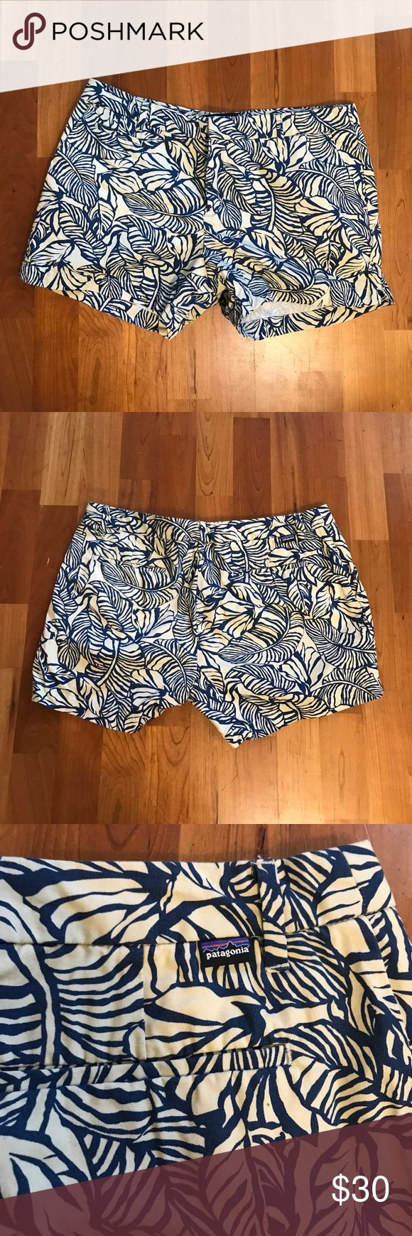 {Patagonia} All-Wear Stretch Shorts Women's patagonia all-wear stretch shorts in size 14. Colors are cream and blue. EUC. Patagonia Shorts