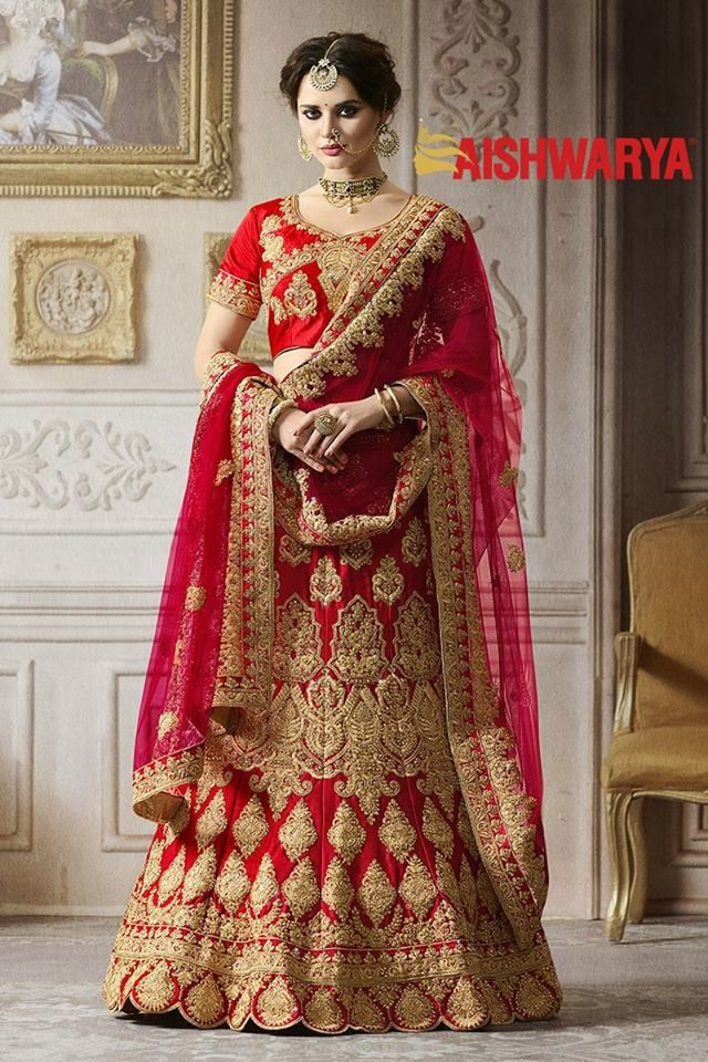 Listen up brides-to-be! Our brand new collection of bridal lehengas is now available in stores and online! Buy Lehenga Choli online - http://www.aishwaryadesignstudio.com/breathtaking-red-bridal-wear-lehenga-set