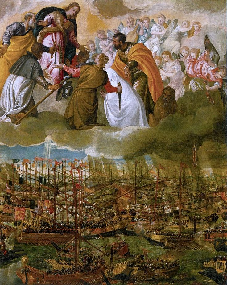 7.10.1571.Battle of Lepanto.The Allegory of the Battle of Lepanto by Paolo Veronese (c.1572,Gallerie dell'Accademia,Venice)