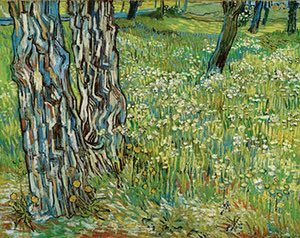 SPRING: Tree trunks in the grass (late April 1890) - Oil on canvas. In April 1890 Van Gogh was still at the Saint-Paul de Mausole asylum in Saint-Rémy, where for the previous month he had been in deep psychological crisis, unable to cope with the outside world. This landscape is thought to be the first painting he attempted once he was well enough to venture from his room. He depicts the base of a forked pine tree.  Photograph: Kröller-Müller Museum, Otterlo, the Netherlands