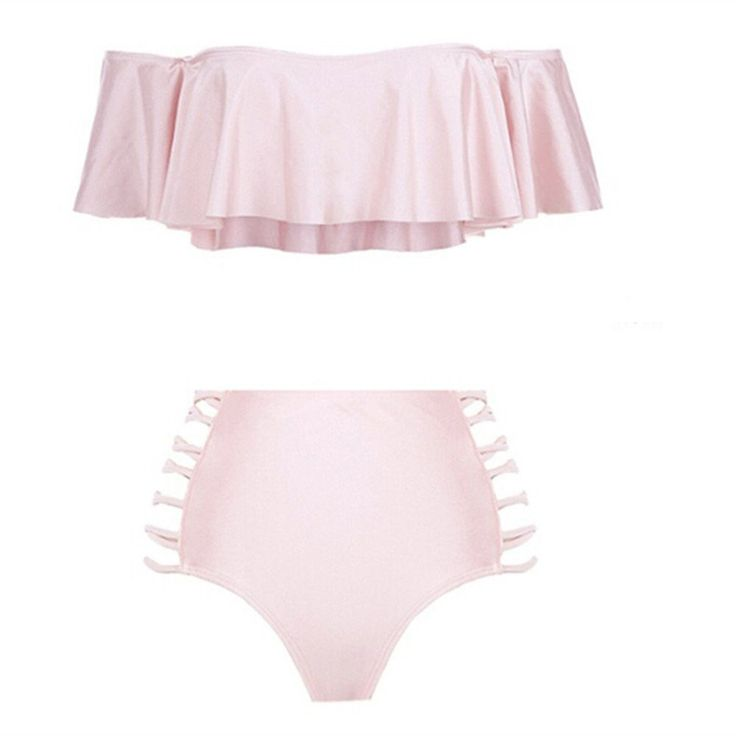 Women Two Pieces Solid Color Crop Ruffled Sexy Off-shoulder Flounce Bikini Sets Swimsuit