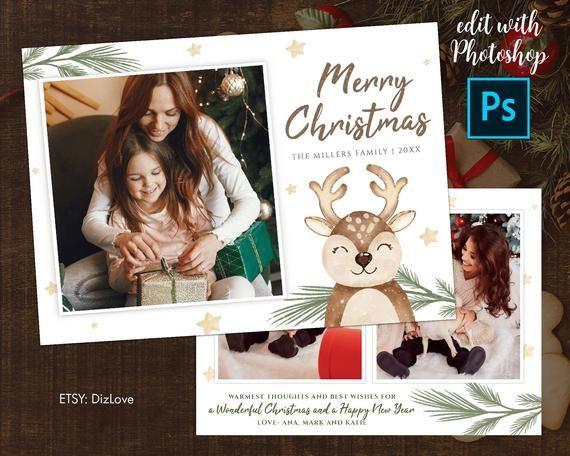 Photoshop Christmas Card Template 5x7 Photo Cardchristmas Etsy Christmas Card Template Photoshop Christmas Card Template Digital Christmas Cards