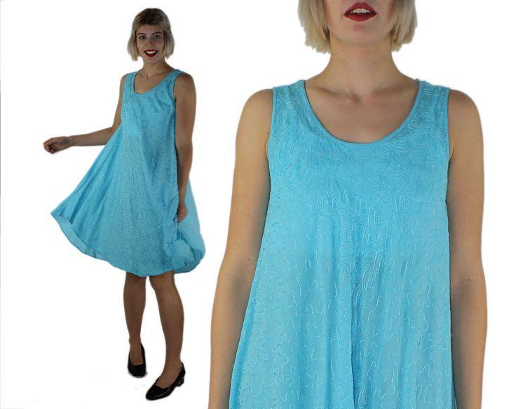 Blue Skies Dress - Hippy Dress Hippie Sky Blue Festival Dress Trapeze Gauze Tunic Dress Sleeveless Summer Dress Boho Grunge Embroidered Cute by filthyrebena on Etsy