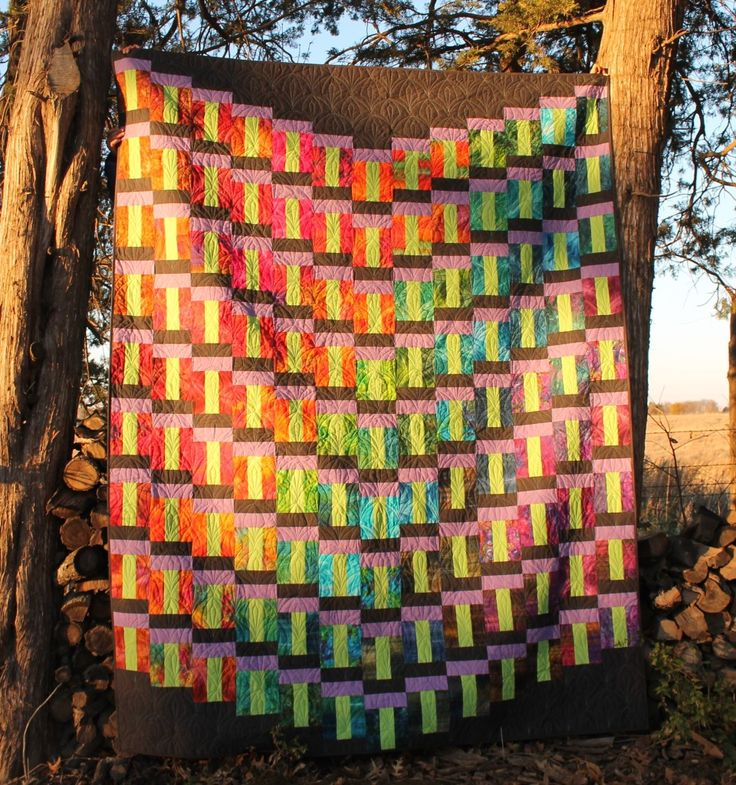 Free pattern on Moda Bake Shop Descending Quilt by Brenna Goode using Tropical Punch Batiks ...