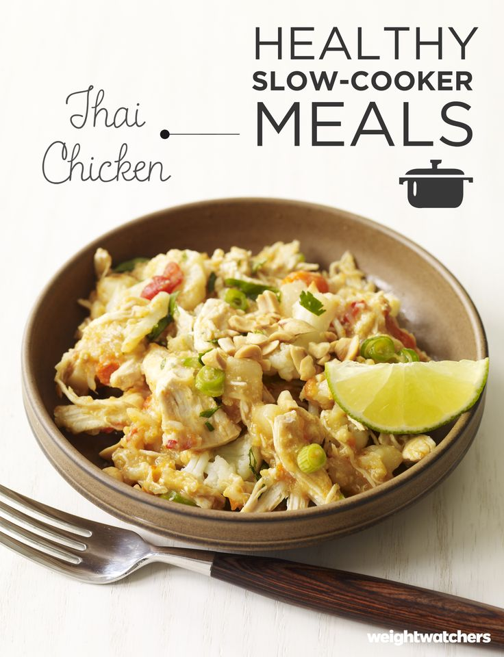 Many slow cooker recipes call for chicken that's cubed. This tasty Thai recipe uses whole chicken breast and places them on top of the vegetables so they won't overcook. Perfect for a weekly lunch or flavorful dinner.
