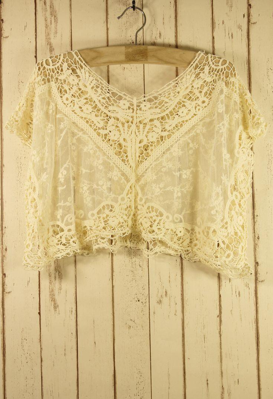 Lace Crochet Smock - Retro White & Nude Collection - Tops - Retro, Indie and Unique Fashion