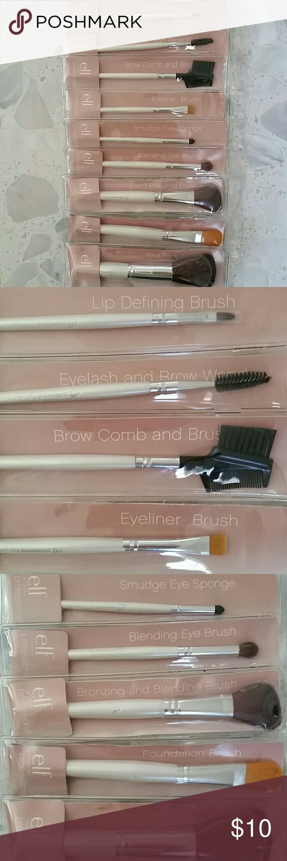 elf Professional Makeup Brush set Condition : Brand new in original package   A set of 9 essential professional brushes:  - Lip defining brush - Eyelash and brow wand - Brow comb and brush - Eyeliner brush - Smudge eye sponge  - Blending Eye brush  - Bronzing and blending brush - Foundation brush - Total face brush  ***Can offer a discount if you purchase elf brush set + VS makeup kit + CK Eternity Moment perfume. Check out my closet*** ELF Makeup Brushes & Tools